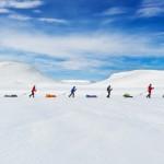 La gara nella pianura di Hardangervidda Mountainplateu che ripercorre le esplorazioni di Roald Amundsen in Norvegia.